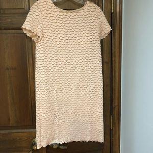 Blush pink scallop dress by European brand